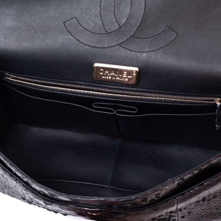 CHANEL Jumbo Black Python Timeless Bag For Sale 9
