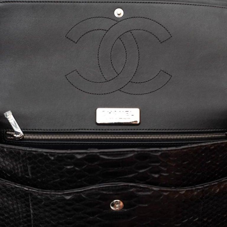 CHANEL Jumbo Black Python Timeless Bag For Sale 10