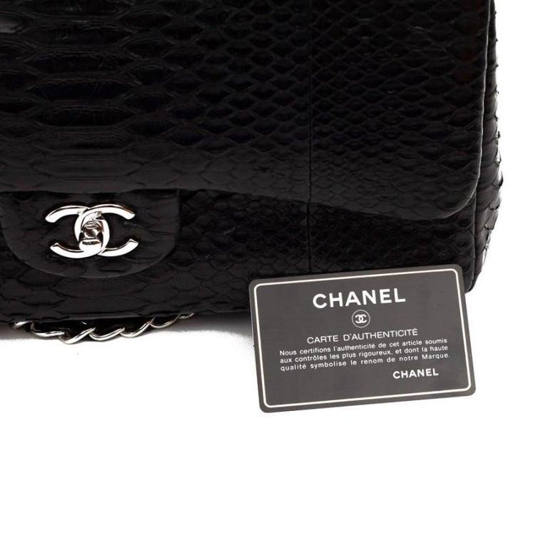 CHANEL Jumbo Black Python Timeless Bag For Sale 12