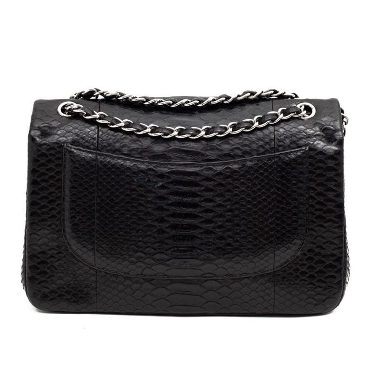 CHANEL Jumbo Black Python Timeless Bag In Excellent Condition For Sale In Paris, FR