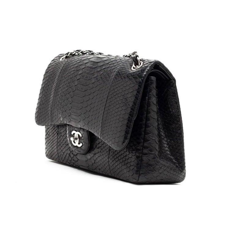 Women's CHANEL Jumbo Black Python Timeless Bag For Sale