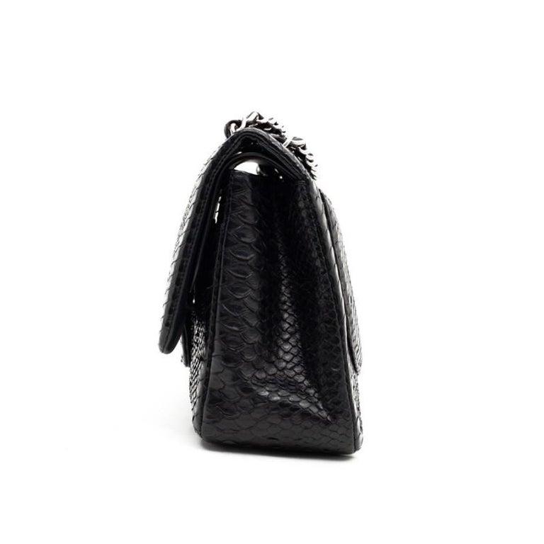 CHANEL Jumbo Black Python Timeless Bag For Sale 1