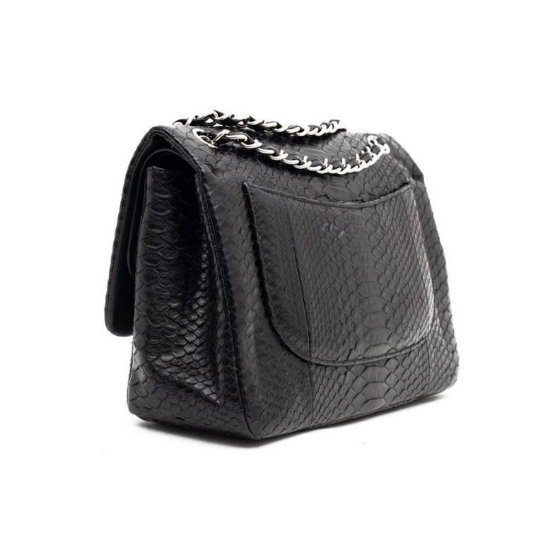 CHANEL Jumbo Black Python Timeless Bag For Sale 2