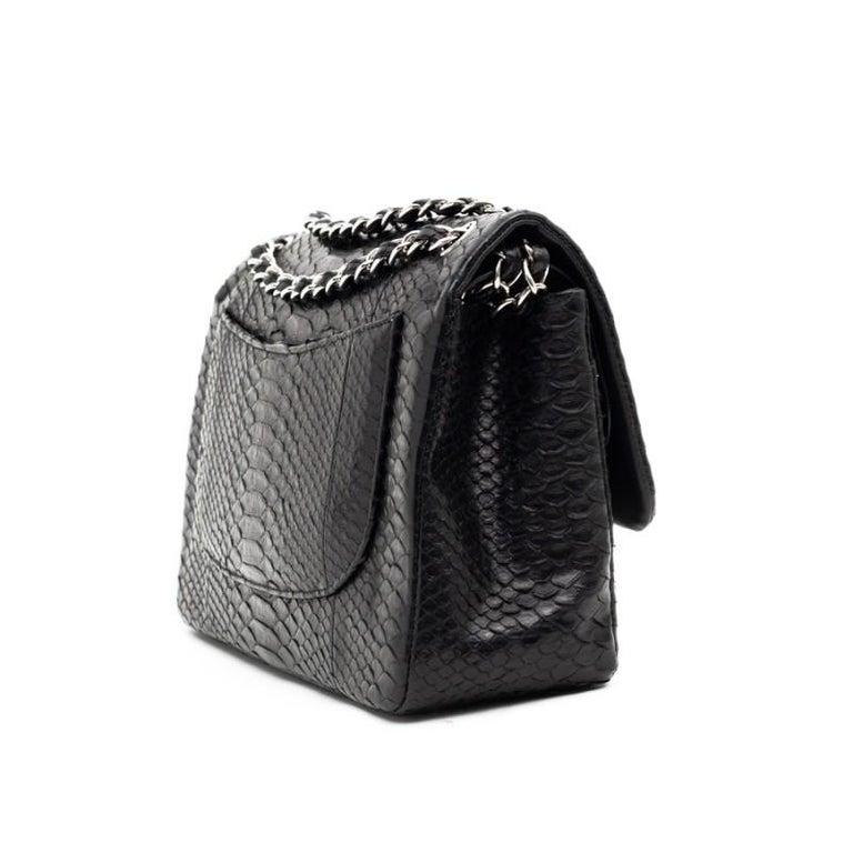 CHANEL Jumbo Black Python Timeless Bag For Sale 3