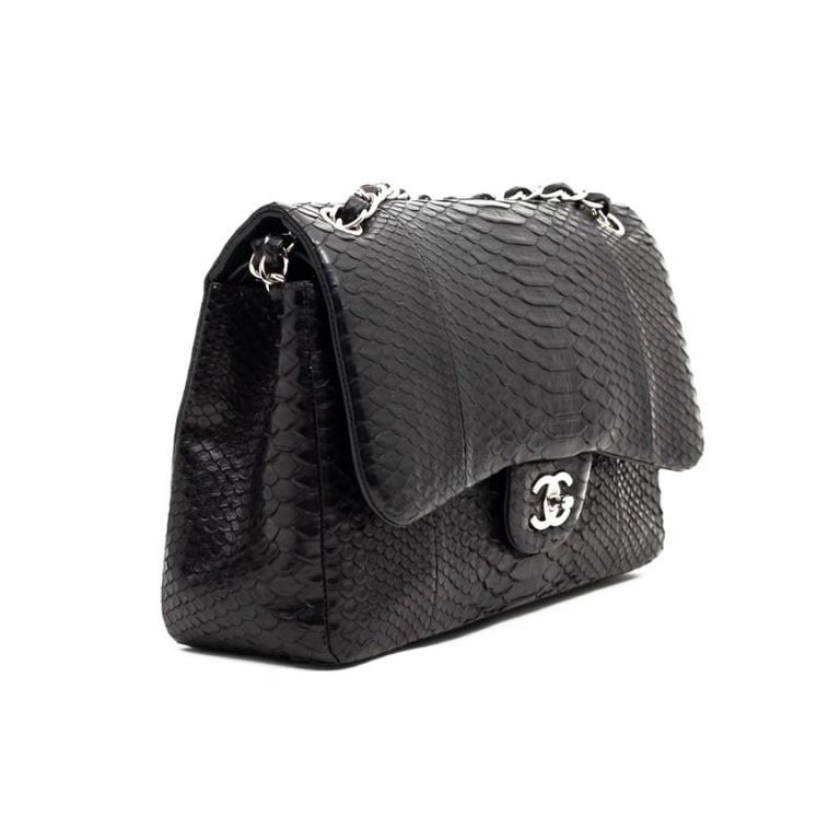 CHANEL Jumbo Black Python Timeless Bag For Sale 5