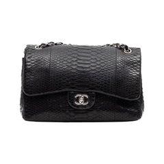 CHANEL Jumbo Black Python Timeless Bag