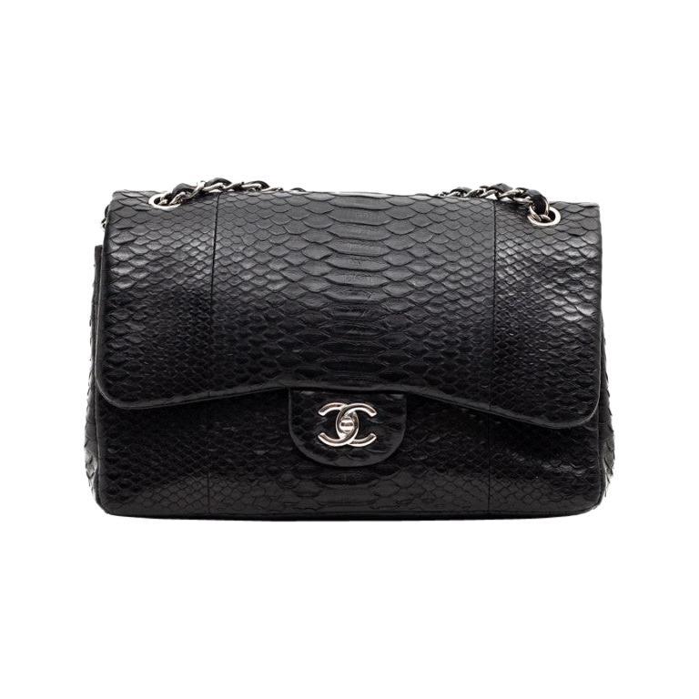 CHANEL Jumbo Black Python Timeless Bag For Sale