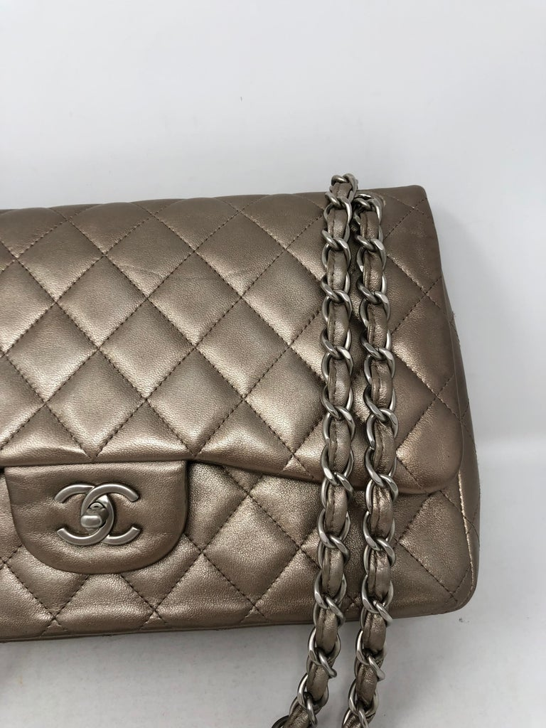 Women's or Men's Chanel Jumbo Bronze Metallic For Sale