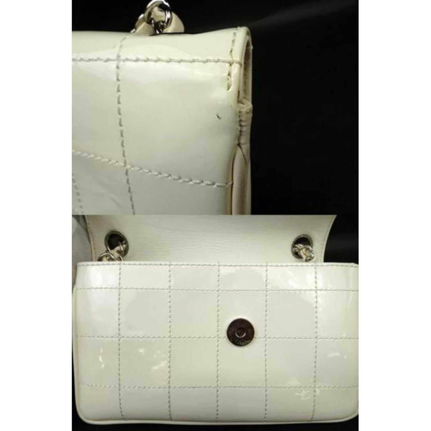 4194a3c40917 Chanel Jumbo Cc Logo Zig Zag 221349 White Patent Leather Shoulder Bag For  Sale at 1stdibs