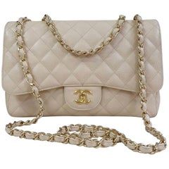 Chanel Jumbo Classic Single Flap Bag Caviar Beige