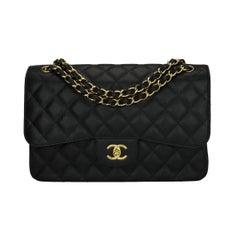 CHANEL Jumbo Double Flap Bag Black Caviar with Gold Hardware 2017