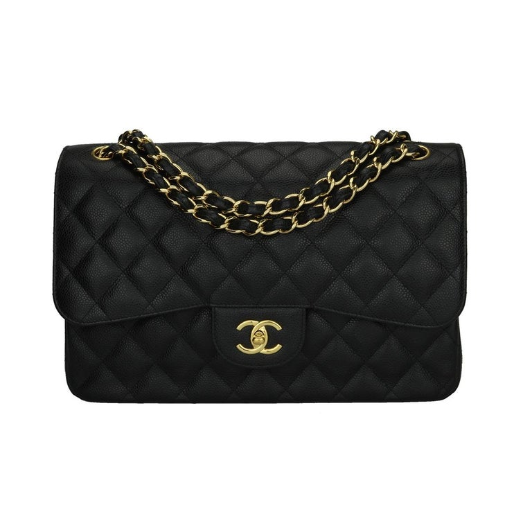 90835783be4a5 CHANEL Jumbo Double Flap Bag Black Caviar with Gold Hardware 2017 For Sale.  Authentic ...