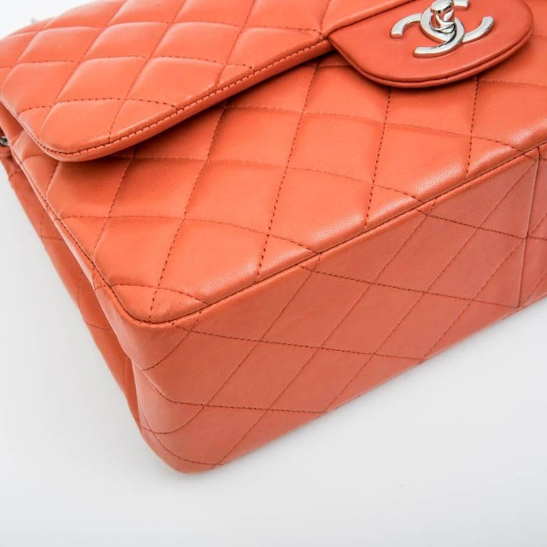 9e013568e927 CHANEL Jumbo Double Flap Bag in Coral Quilted Smooth Lamb Leather For Sale 1