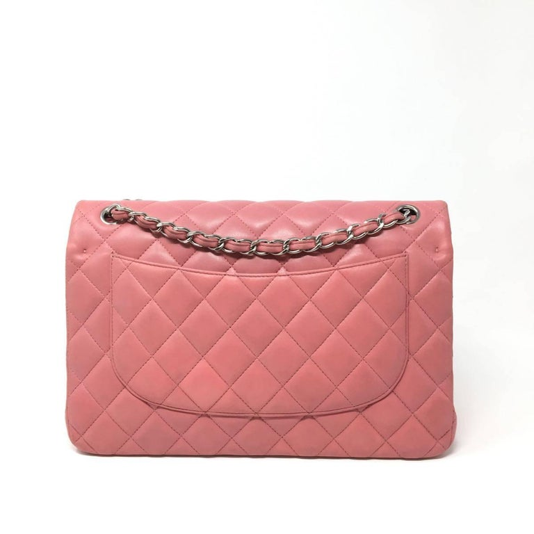 bf2cdd883a97 Chanel Jumbo Pink Quilted Lambskin Leather Double Flap Bag