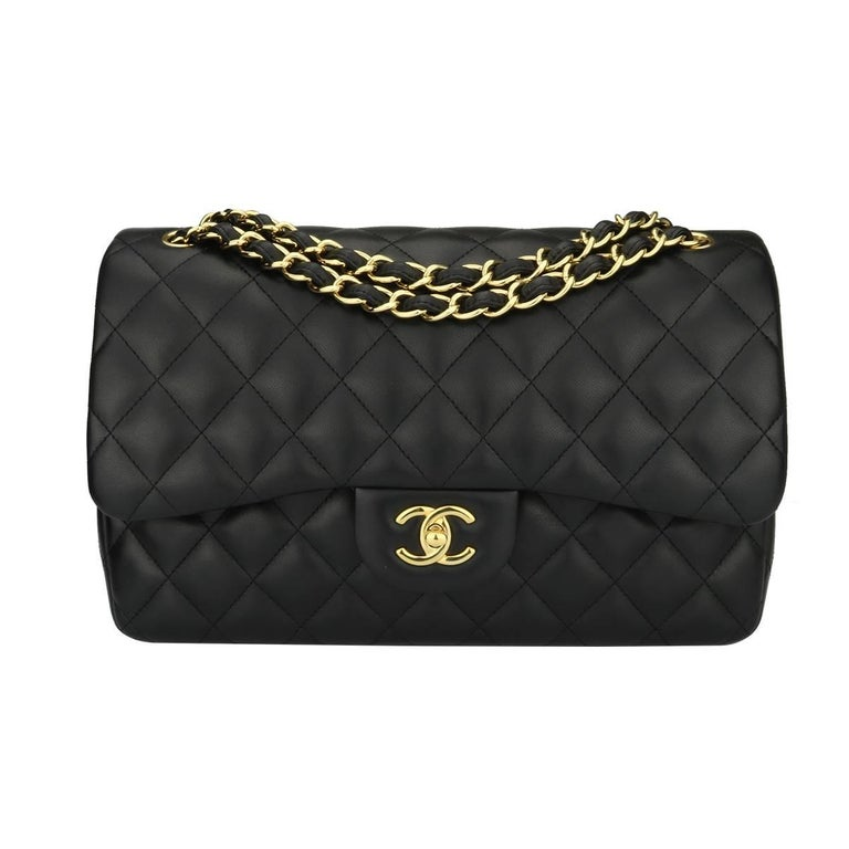 Chanel Jumbo Double Flap Black Lambskin with Gold Hardware, 2015