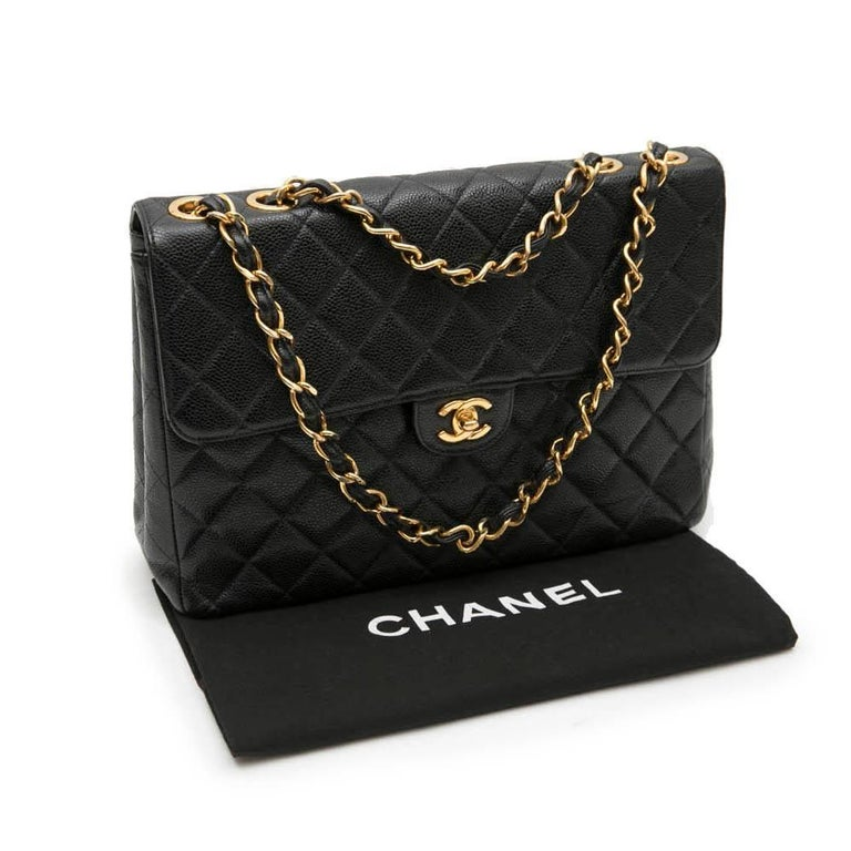 Chanel Jumbo Flap Bag In Black Grained Leather For 5