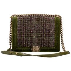 Chanel Jumbo Green Velvet Tweed Boy Bag