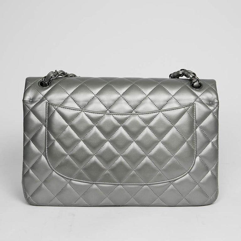 CHANEL Jumbo Handbag In Steel Gray Leather In Excellent Condition In Paris, FR
