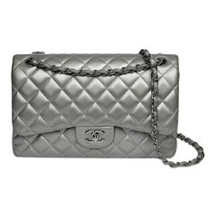 CHANEL Jumbo Handbag In Steel Gray Leather