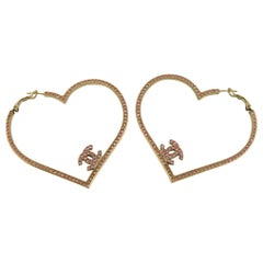 Chanel Jumbo Jewelled Heart CC Hoop Earrings