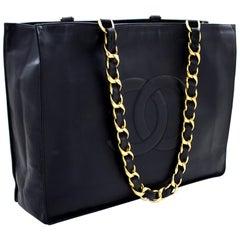 CHANEL Jumbo Large Big Chain Shoulder Bag Lambskin Black Leather