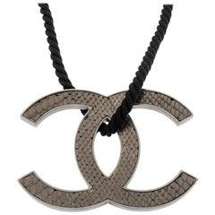 Chanel Jumbo Leather CC Reversible Pendant Cord Necklace