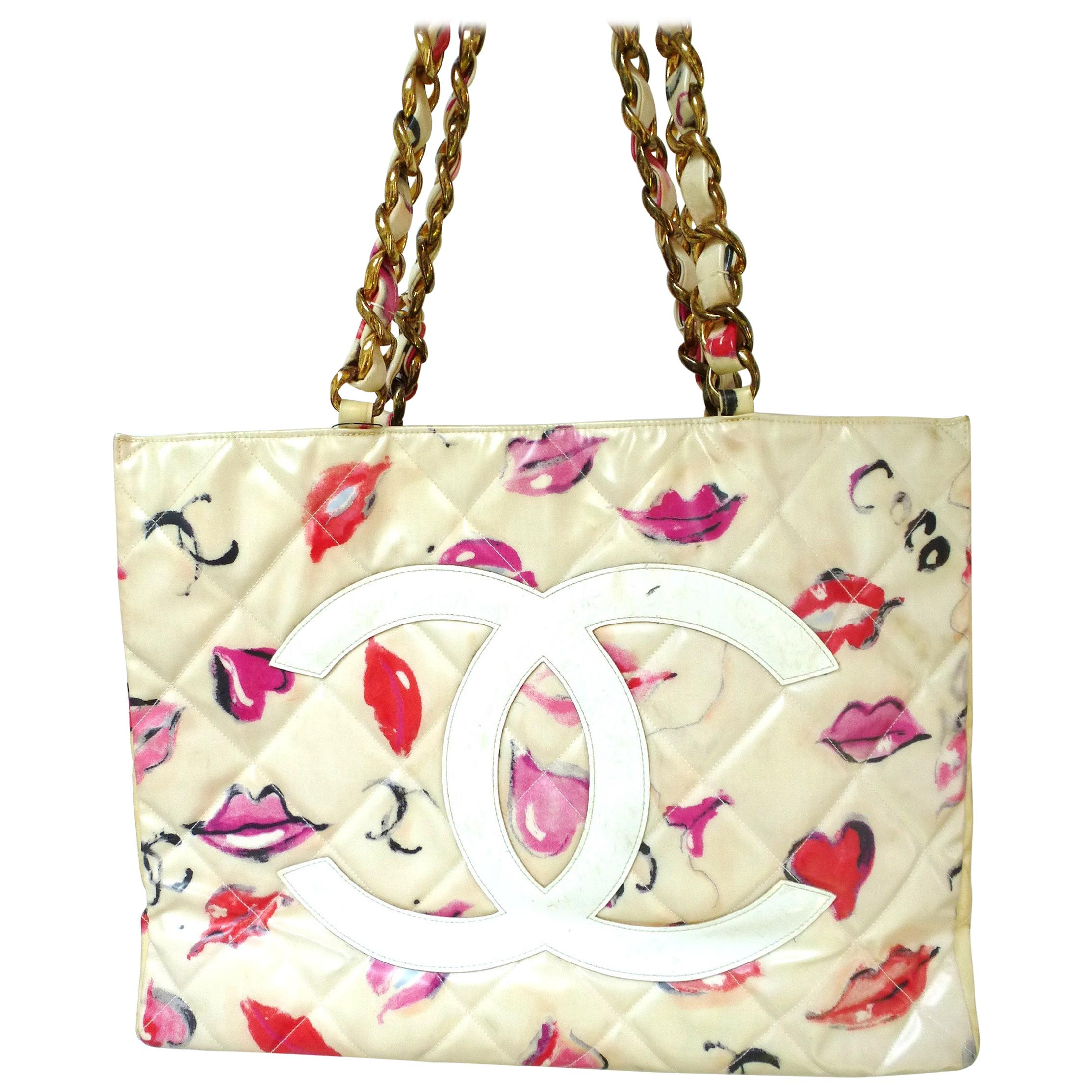 Chanel Jumbo nylon shopper Tot bag with Lip Heart + Coco Grafitti 1985's
