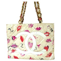 Chanel Jumbo nylon shopper Tot bag with Lip Heart + Coco Grafitti 1985's