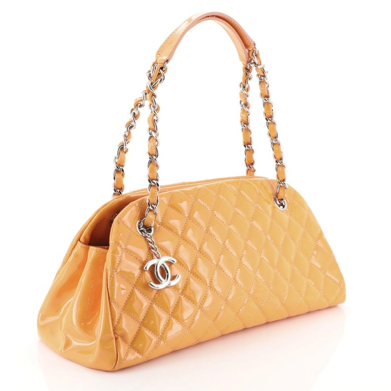 Orange Chanel Just Mademoiselle Bag Quilted Patent Medium For Sale