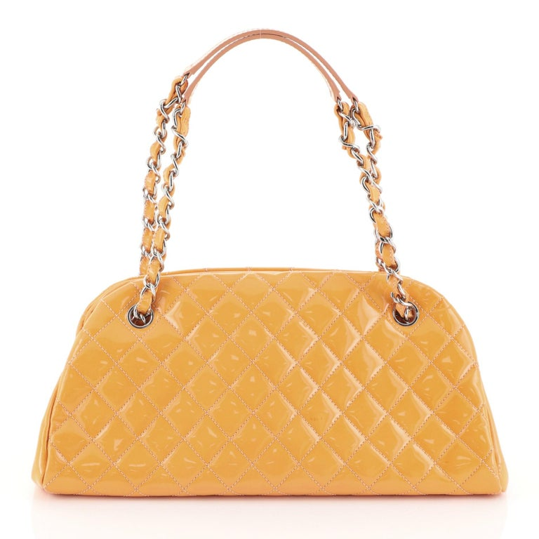 Chanel Just Mademoiselle Bag Quilted Patent Medium In Good Condition For Sale In New York, NY