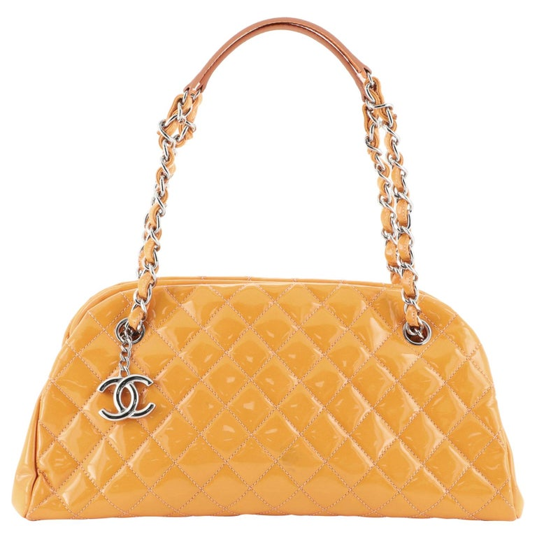 Chanel Just Mademoiselle Bag Quilted Patent Medium For Sale