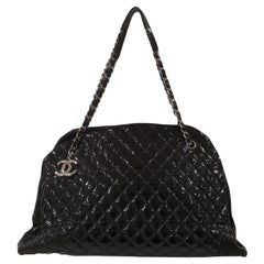 Chanel Just Mademoiselle Bowler Black patent Leather Bag