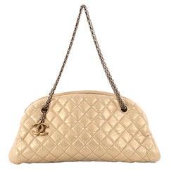 Chanel Just Mademoiselle Handbag Quilted Aged Calfskin Medium