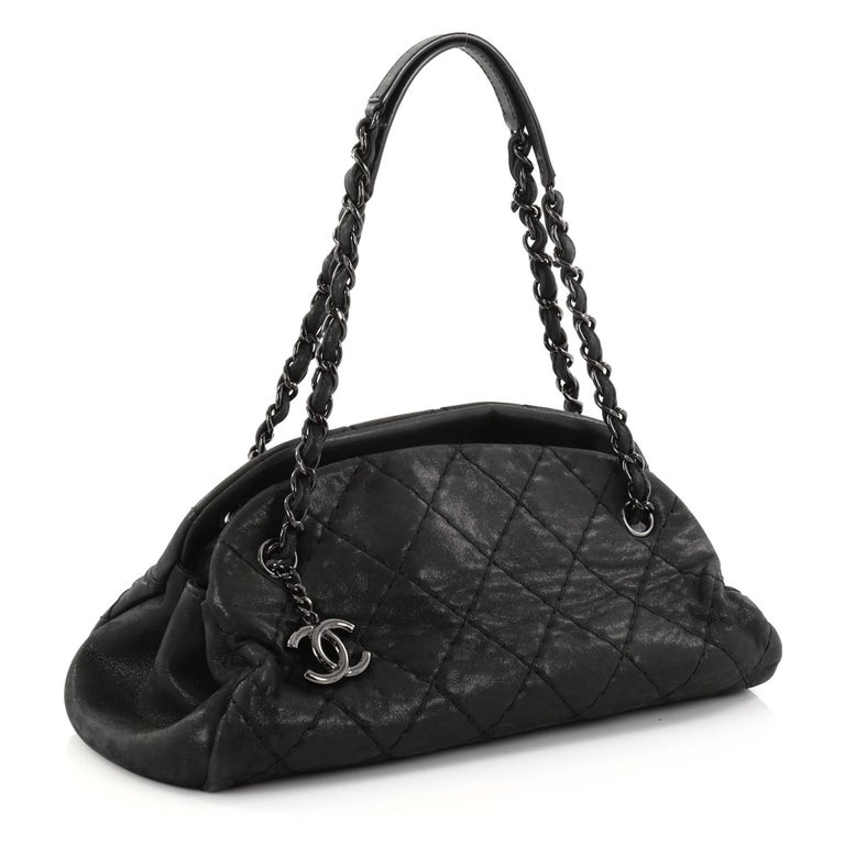 f5747d18a450 Black Chanel Just Mademoiselle Handbag Quilted Iridescent Leather Medium  For Sale