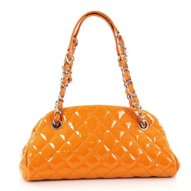 8edd991019c073 Chanel Just Mademoiselle Handbag Quilted Patent Small In Excellent  Condition For Sale In New York,