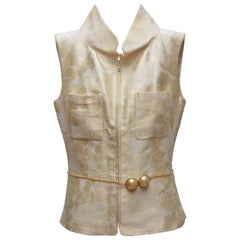 CHANEL Karl Lagerfeld Collection  Camellia Vest With Pearl Belt 2001   SZ 40