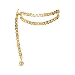 CHANEL KARL LAGERFELD heavy chunky gold-tone chain curb dual CC belt