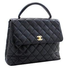 CHANEL Kelly Caviar Handbag Bag Black Flap Leather Gold Hardware