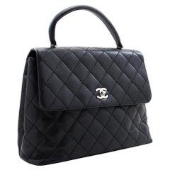 CHANEL Kelly Caviar Handbag Bag Black Flap Leather Silver Hardware