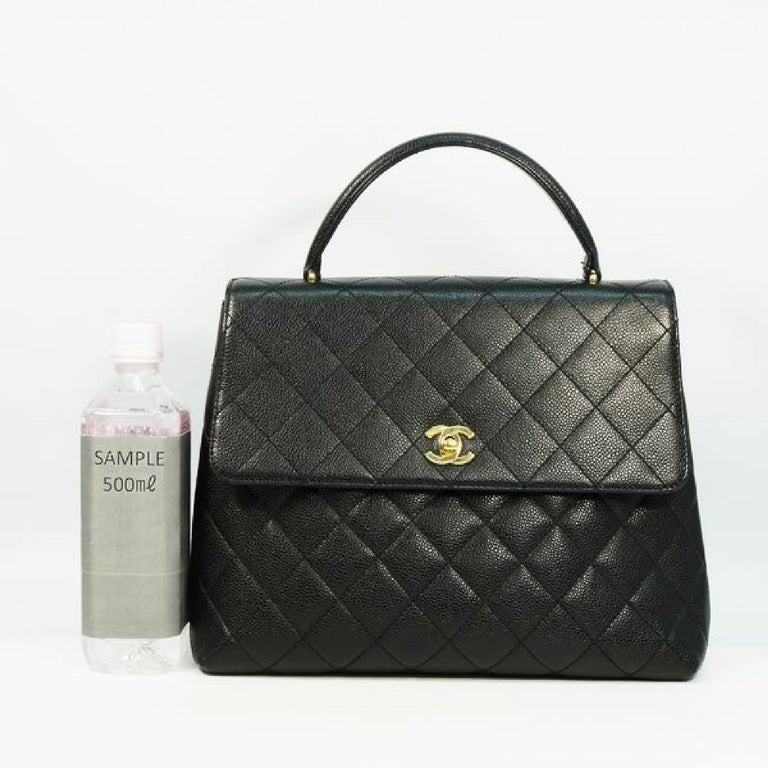 CHANEL Kelly type matelasse Womens handbag black x gold hardware For Sale 5