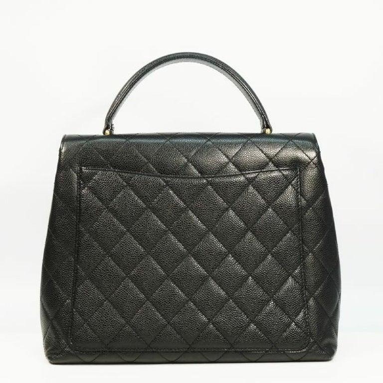 Black CHANEL Kelly type matelasse Womens handbag black x gold hardware For Sale