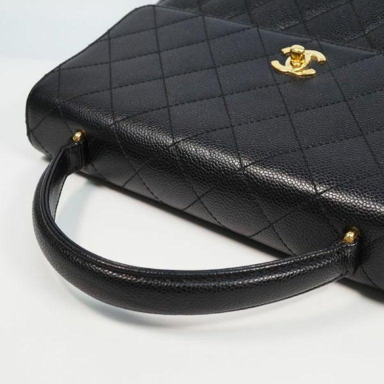 CHANEL Kelly type matelasse Womens handbag black x gold hardware For Sale 2