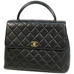 CHANEL Kelly type matelasse Womens handbag black x gold hardware