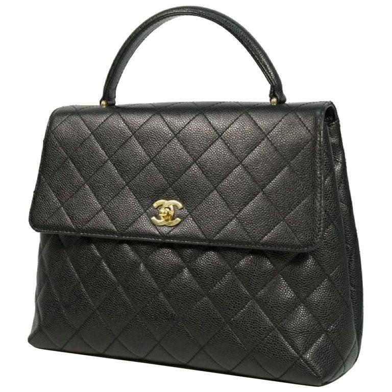 CHANEL Kelly type matelasse Womens handbag black x gold hardware For Sale
