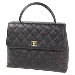 CHANEL Kelly type matelasse Womens handbag black x gold hardware