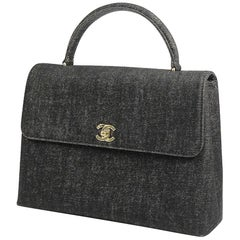 CHANEL Kelly type Womens handbag black x gold hardware