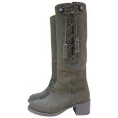 Chanel Khaki Paris Salzburg Boots