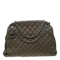 Chanel Khaki Quilted Leather Large Just Mademoiselle Bowling Bag