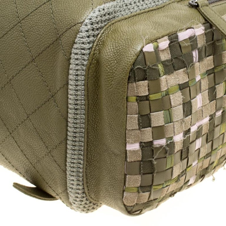 e033bfb9da2d Chanel Khaki Women Canvas and Leather Cuba Pocket Backpack For Sale ...