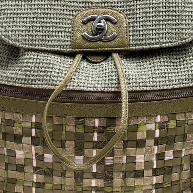 80dcae56a326 Women s Chanel Khaki Women Canvas and Leather Cuba Pocket Backpack For Sale